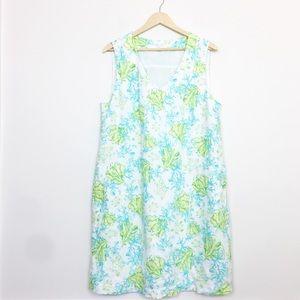 J. Jill | Blue Green Sleeveless Turtle Linen Dress